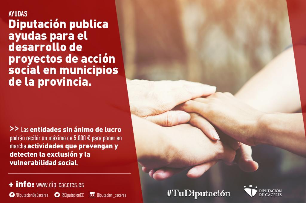 La Diputación de Cáceres publica las ayudas para el desarrollo de proyectos de acción social en municipios de la provincia