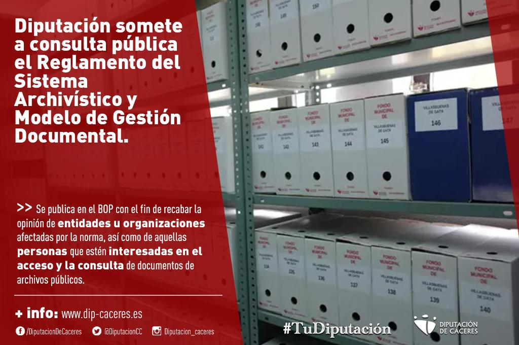 La Diputación somete a consulta pública el Reglamento del Sistema Archivístico y Modelo de Gestión Documental