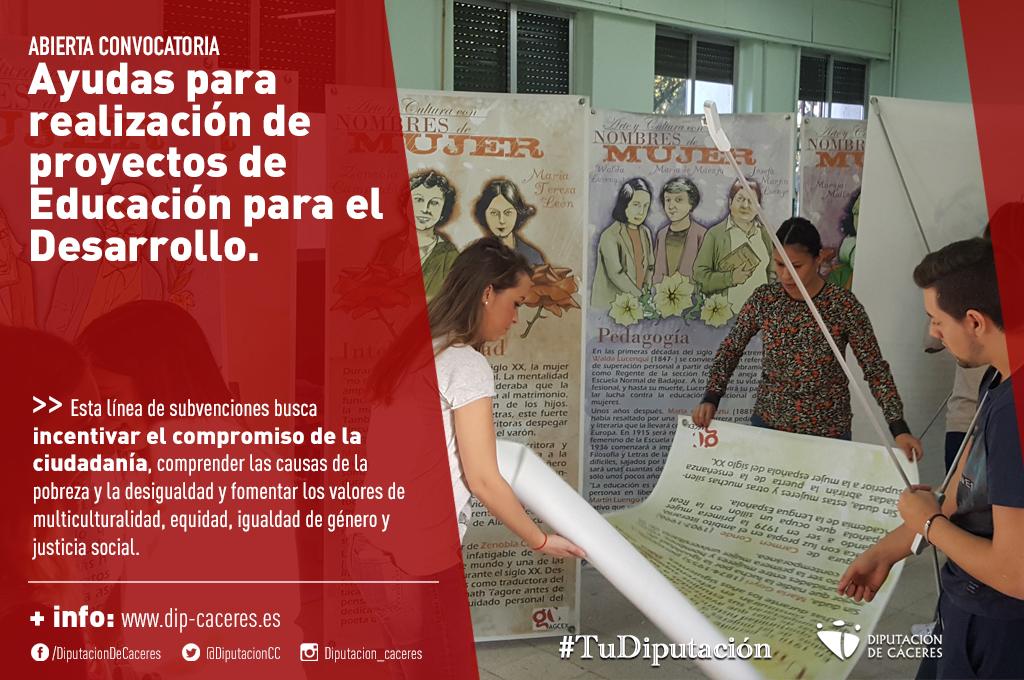 Diputación abre la convocatoria de ayudas para la realización de proyectos de Educación para el Desarrollo