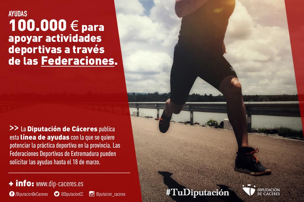 Cien mil euros para apoyar actividades deportivas a través de las Federaciones