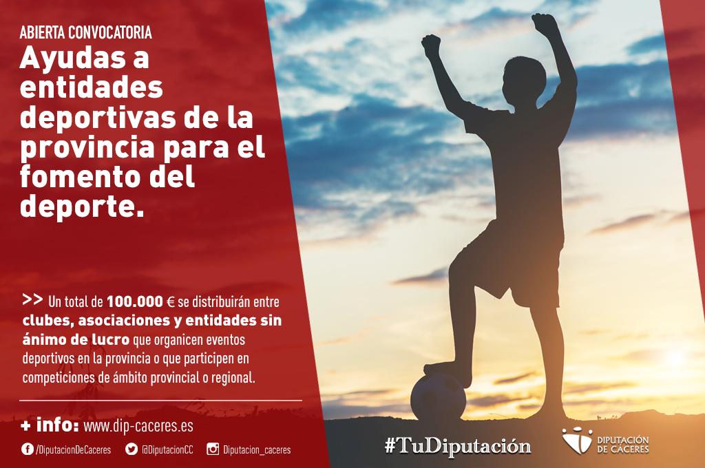 La Diputación abre la convocatoria de ayudas a entidades deportivas de la provincia para el fomento del deporte