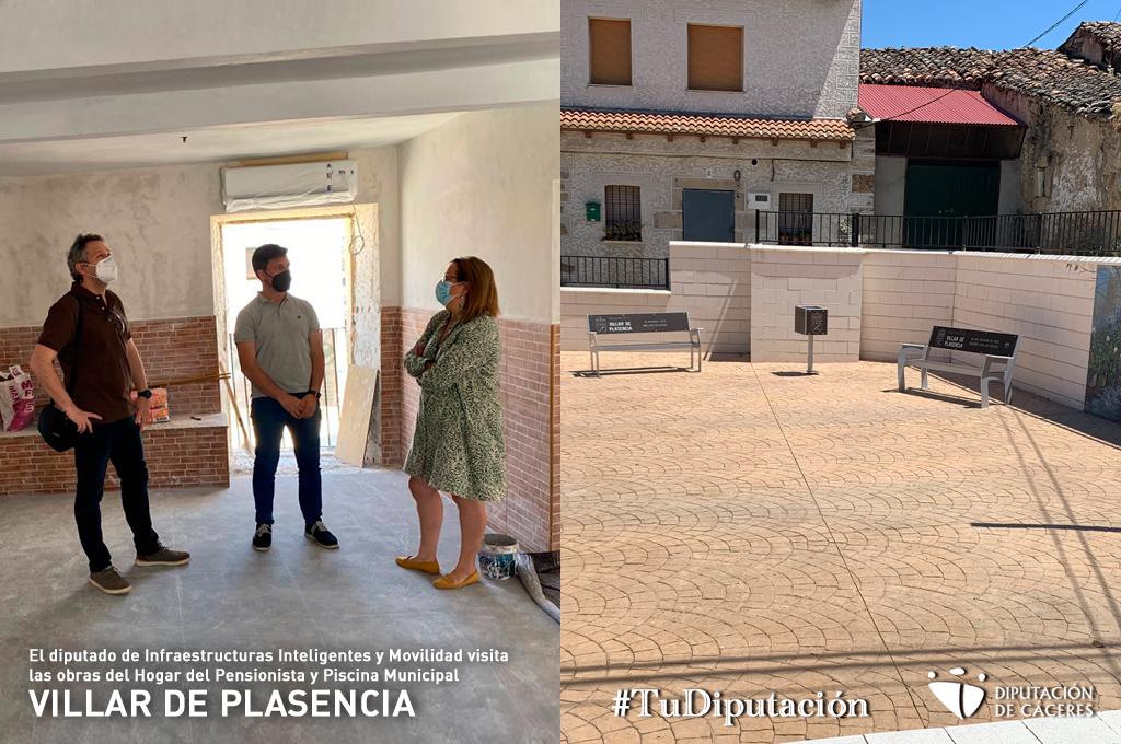 El diputado de Infraestructuras Inteligentes y Movilidad visita las obras del Hogar del Pensionista y la piscina municipal de Villar de Plasencia