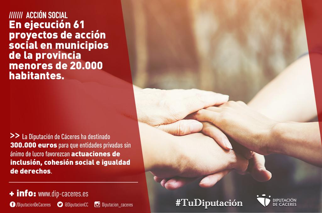 En ejecución 61 proyectos de acción social en municipios de la provincia menores de 20.000 habitantes