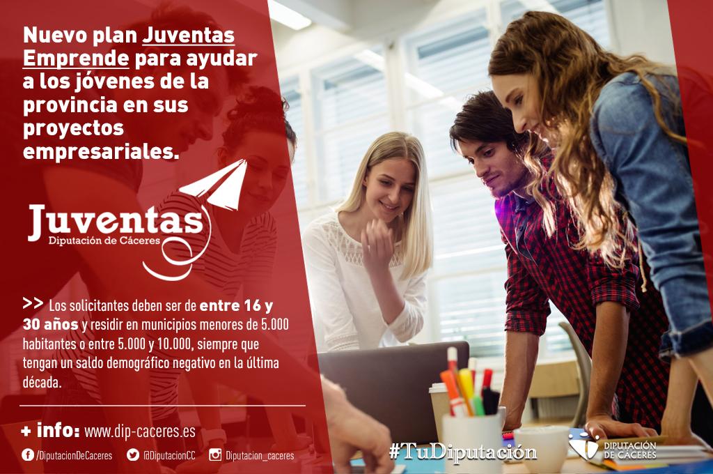 Diputación saca un nuevo plan Juventas Emprende para ayudar a los jóvenes de la provincia en sus proyectos empresariales