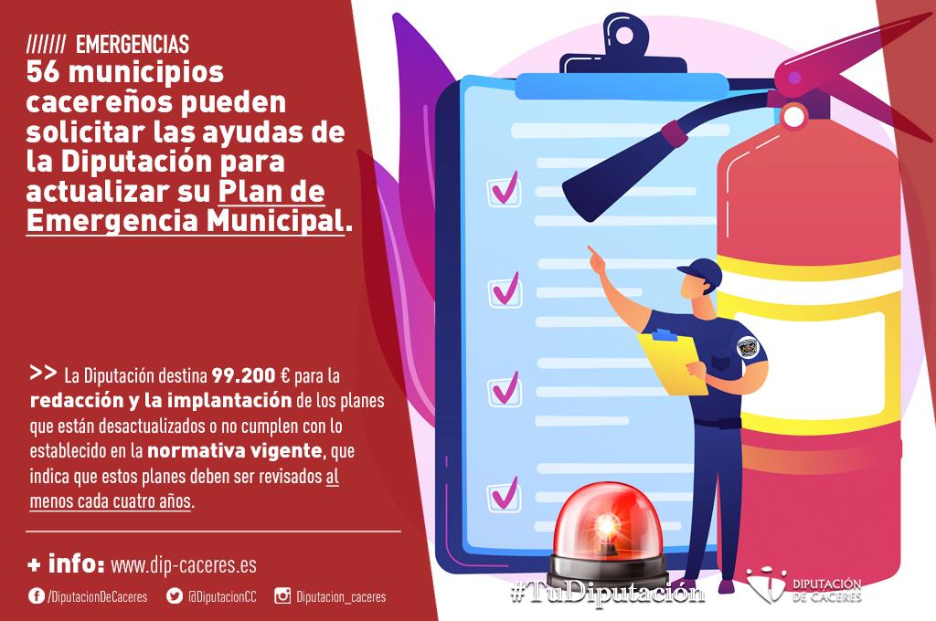Cincuenta y seis municipios cacereños pueden solicitar las ayudas de la Diputación para actualizar su Plan de Emergencia Municipal